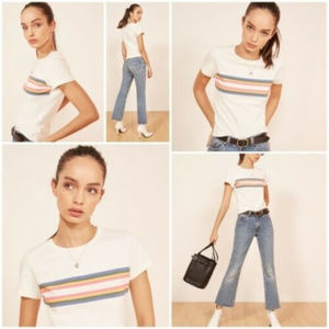 Reformation Large Double Rainbow Short Sleeve Top